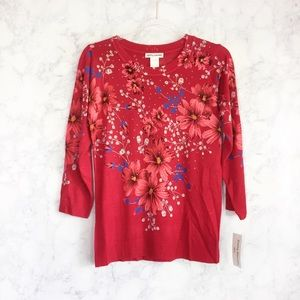 NWT Cathy Daniels red floral top small